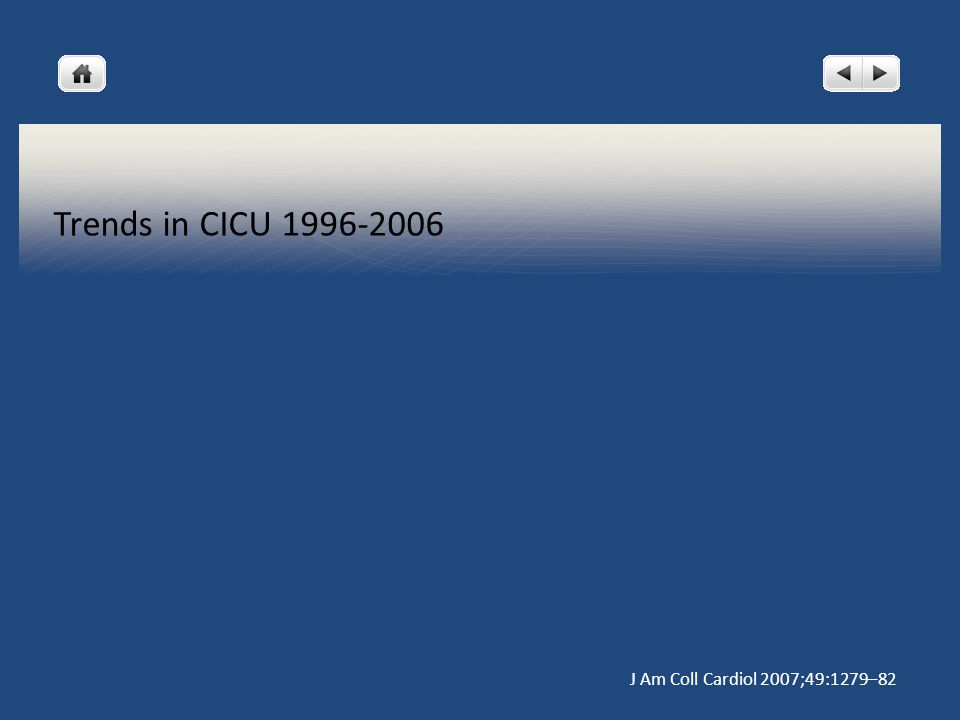 Trends in CICU 1996-2006 J Am Coll Cardiol 2007;49:1279–82