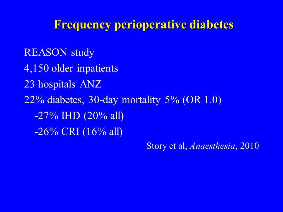 Frequency perioperative diabetes REASON study 4,150 older inpatients 23 hospitals ANZ 22% diabetes, 30-day mortality 5% (OR 1.0) -27% IHD (20% all) -26% CRI (16% all) Story et al, Anaesthesia, 2010