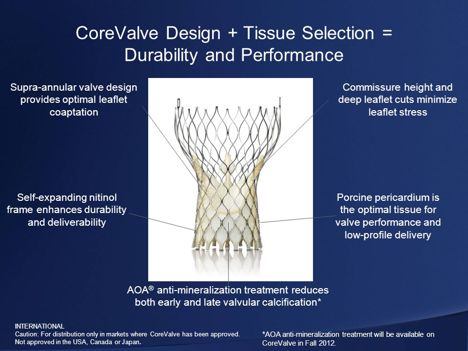 INTERNATIONAL Caution: For distribution only in markets where CoreValve has been approved.