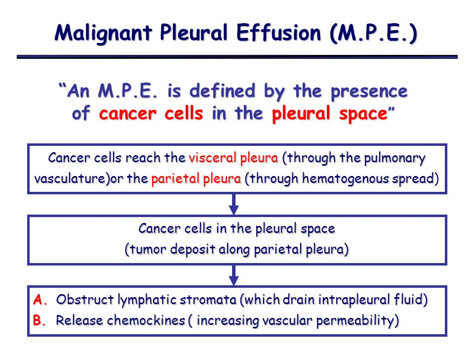 "Malignant Pleural Effusion (M.P.E.) ""An M.P.E. is defined by the presence of cancer cells in the pleural space "" Cancer cells reach the visceral pleur"