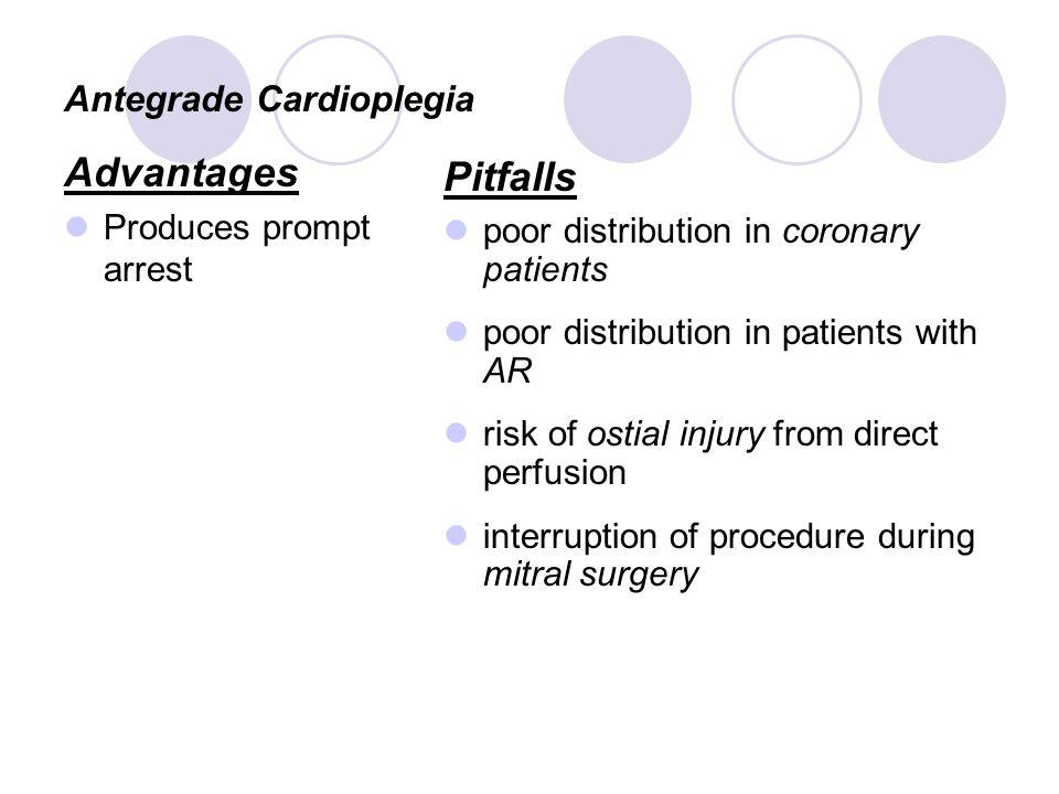 Antegrade Cardioplegia Advantages Produces prompt arrest Pitfalls poor distribution in coronary patients poor distribution in patients with AR risk of