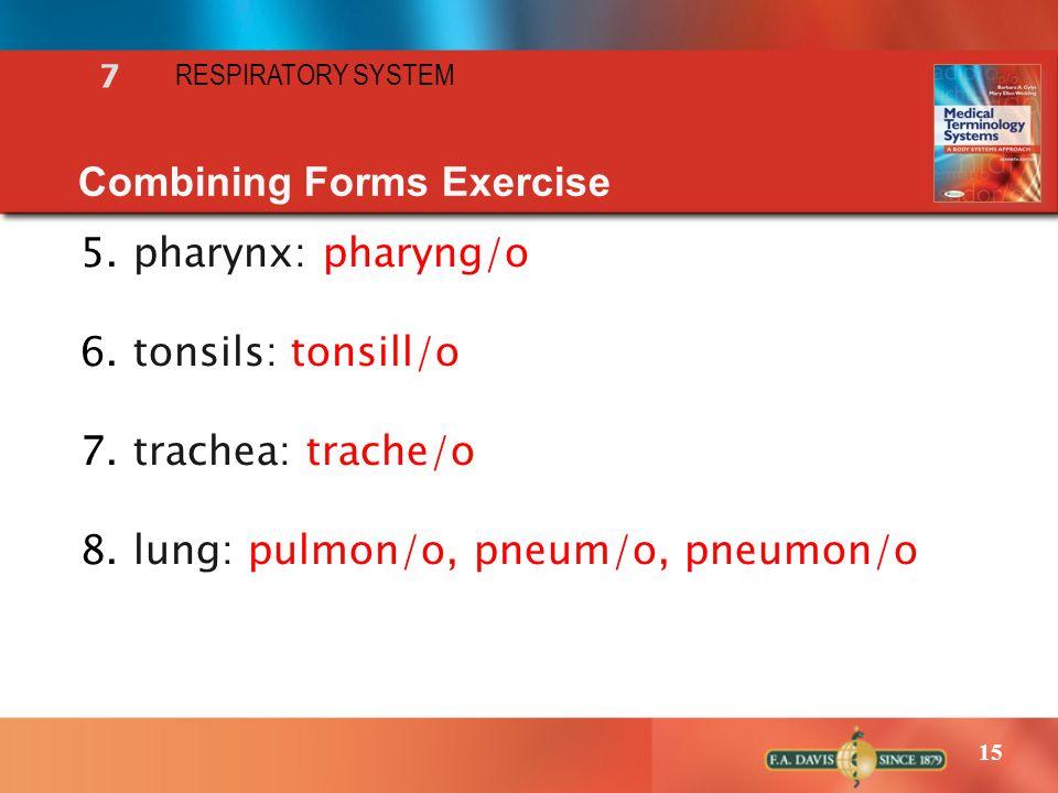 15 RESPIRATORY SYSTEM 7 Combining Forms Exercise 5.pharynx: pharyng/o 6.tonsils: tonsill/o 7.trachea: trache/o 8.lung: pulmon/o, pneum/o, pneumon/o