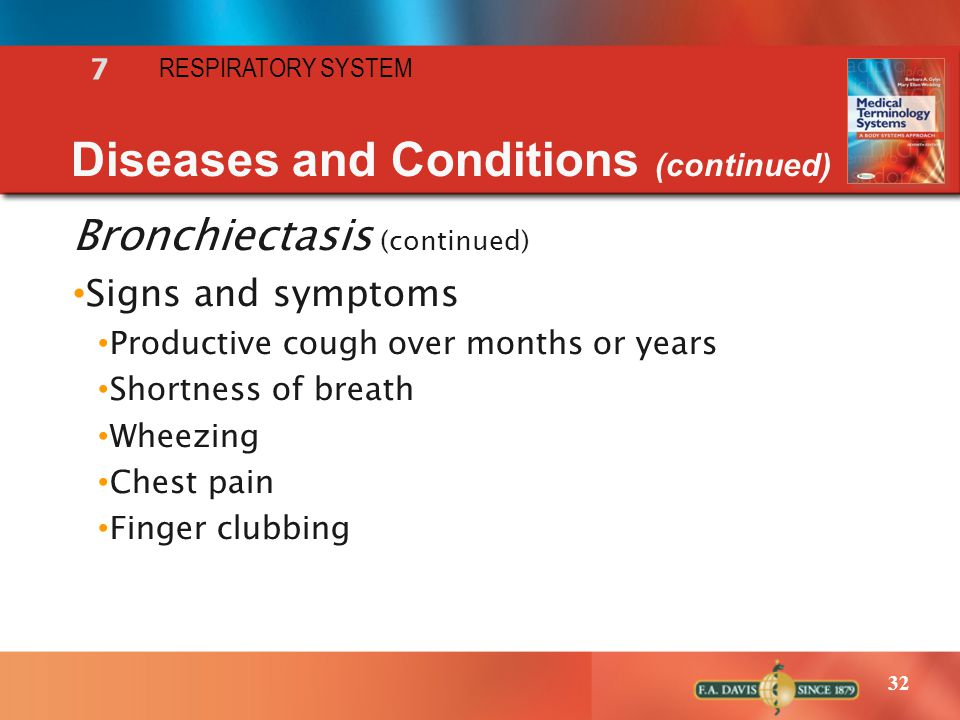 32 RESPIRATORY SYSTEM 7 Diseases and Conditions (continued) Bronchiectasis (continued) Signs and symptoms Productive cough over months or years Shortn