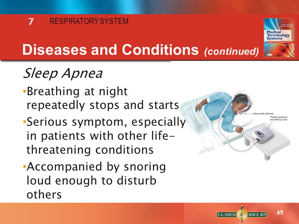 45 RESPIRATORY SYSTEM 7 Diseases and Conditions (continued) Sleep Apnea Breathing at night repeatedly stops and starts Serious symptom, especially in