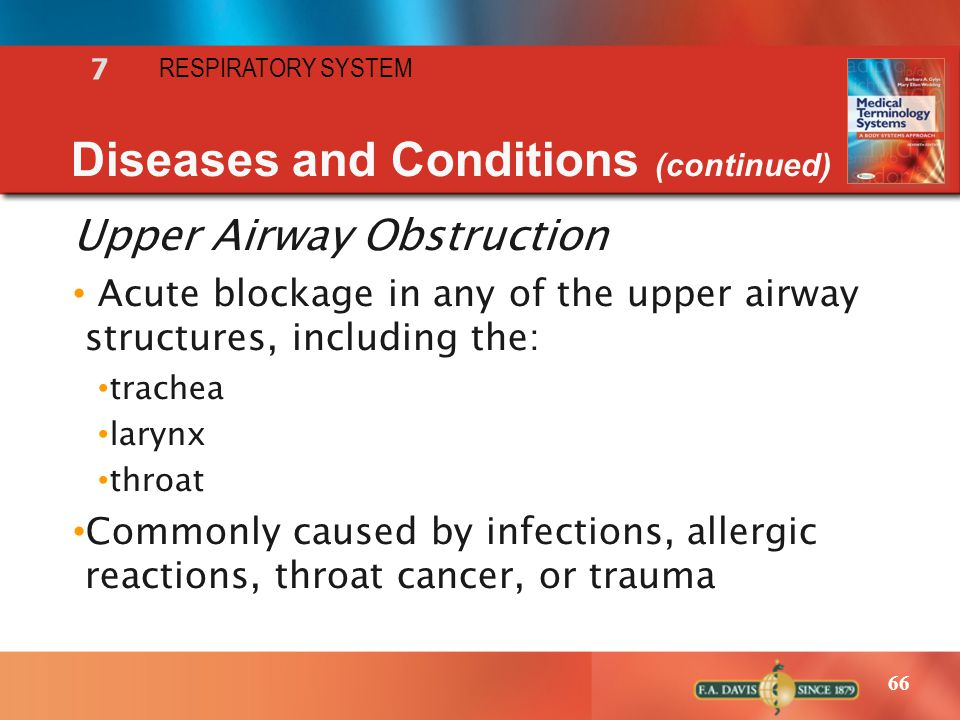 66 RESPIRATORY SYSTEM 7 Diseases and Conditions (continued) Upper Airway Obstruction Acute blockage in any of the upper airway structures, including t