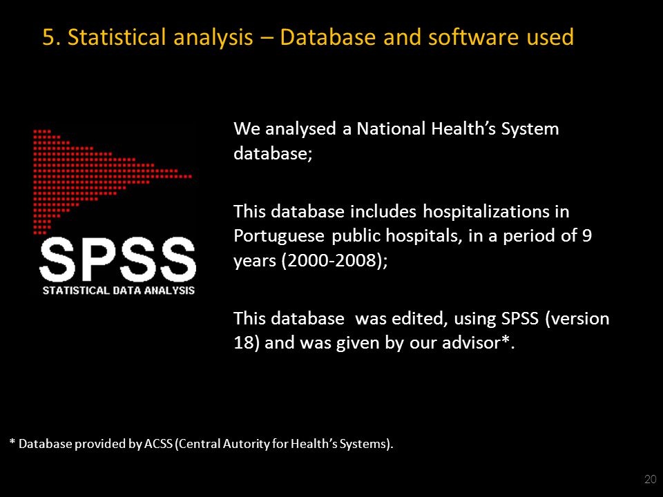 5. Statistical analysis – Database and software used We analysed a National Health's System database; This database includes hospitalizations in Portu