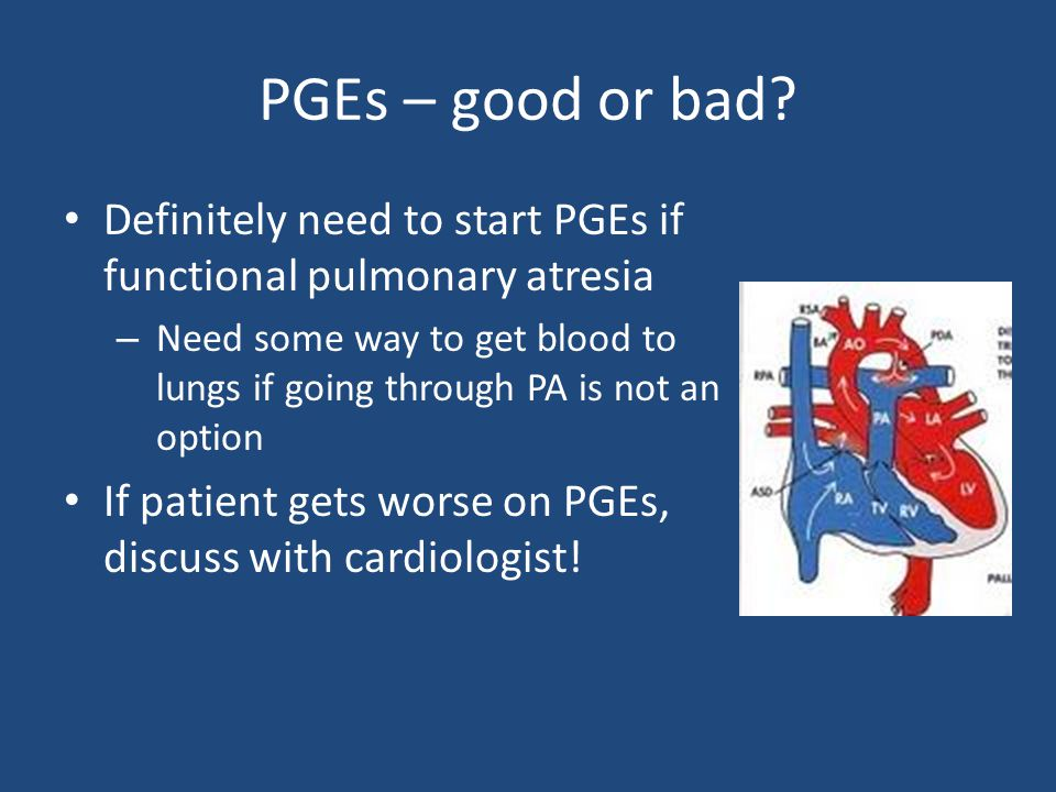 Definitely need to start PGEs if functional pulmonary atresia – Need some way to get blood to lungs if going through PA is not an option If patient gets worse on PGEs, discuss with cardiologist!