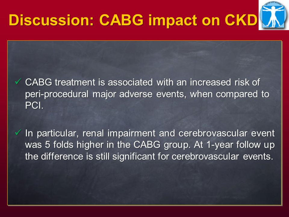 CABG treatment is associated with an increased risk of peri-procedural major adverse events, when compared to PCI.