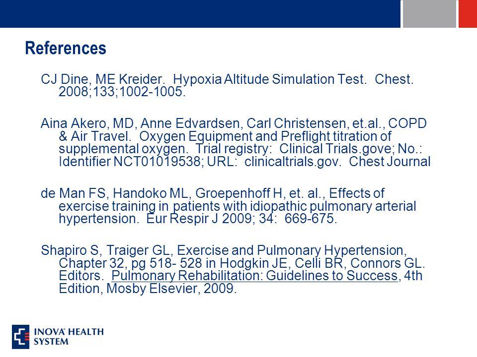 References CJ Dine, ME Kreider. Hypoxia Altitude Simulation Test. Chest. 2008;133;1002-1005. Aina Akero, MD, Anne Edvardsen, Carl Christensen, et.al.,