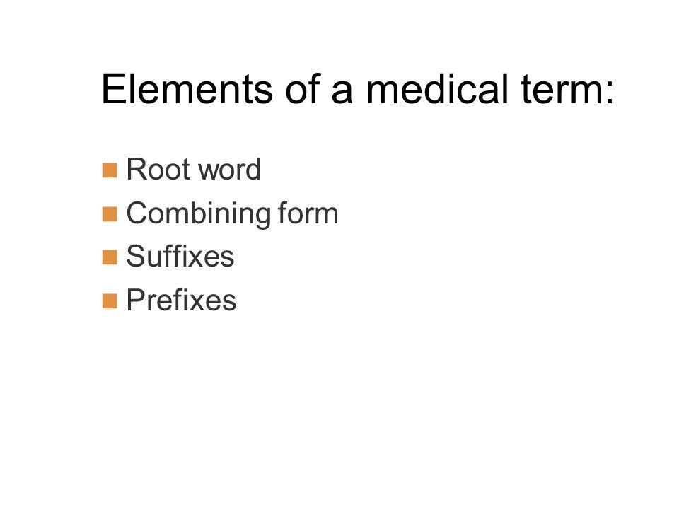Elements of a medical term: Root word Combining form Suffixes Prefixes