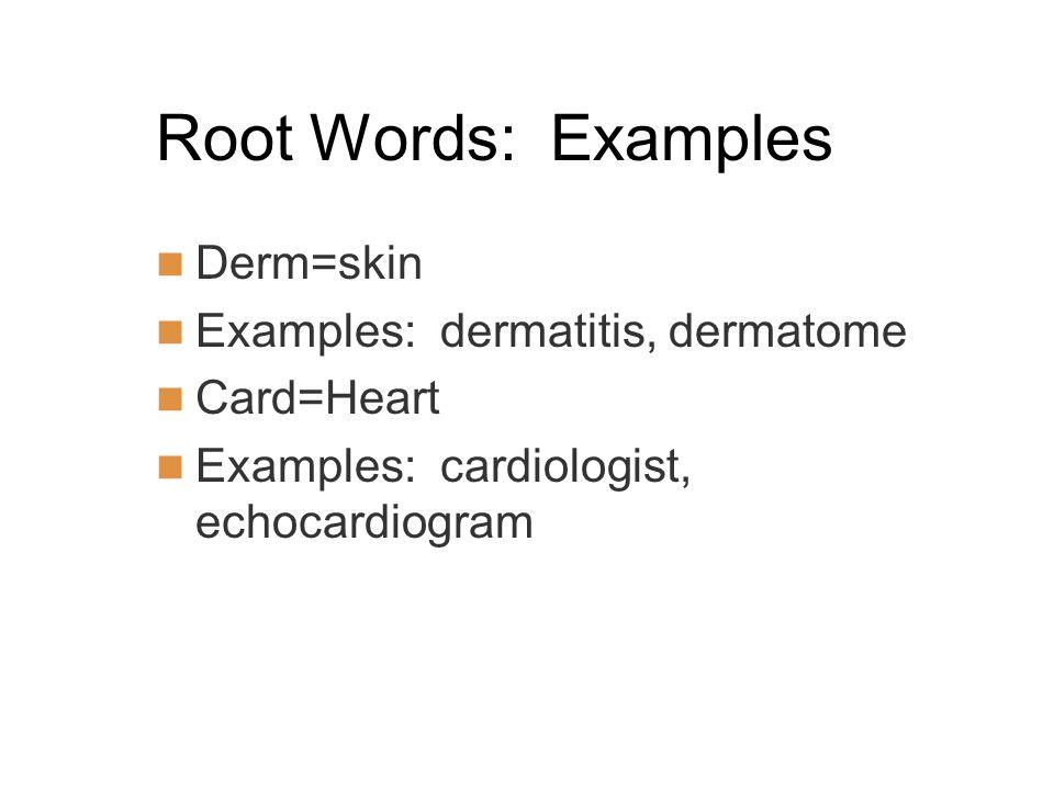 Root Words: Examples Derm=skin Examples: dermatitis, dermatome Card=Heart Examples: cardiologist, echocardiogram