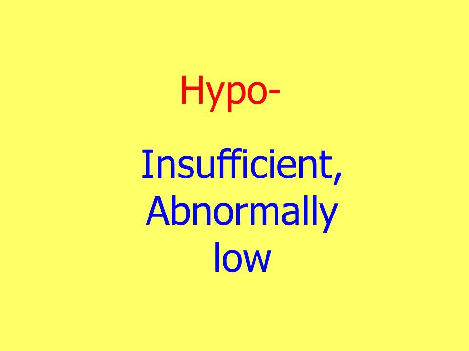 Hypo- Insufficient, Abnormally low