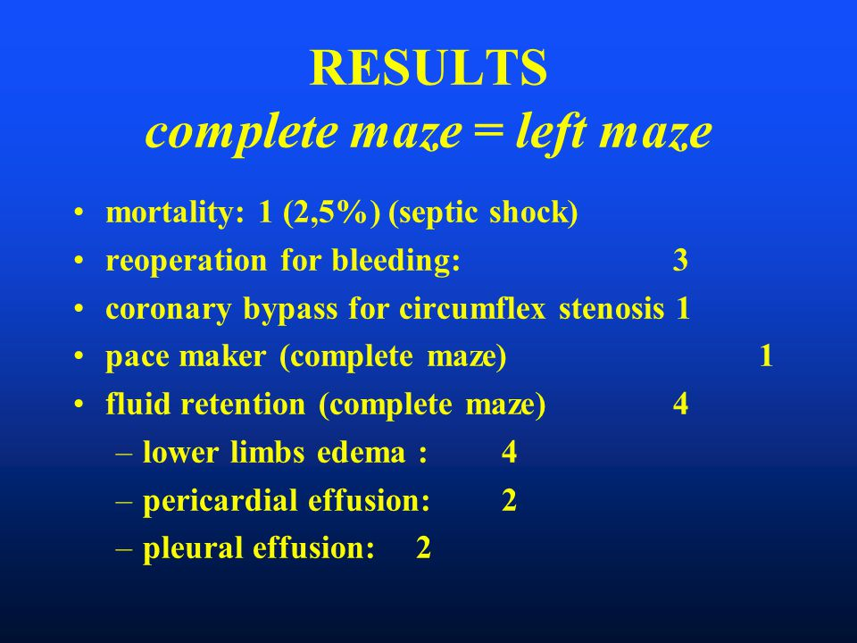 RESULTS complete maze = left maze mortality: 1 (2,5%) (septic shock) reoperation for bleeding: 3 coronary bypass for circumflex stenosis 1 pace maker (complete maze) 1 fluid retention (complete maze)4 –lower limbs edema : 4 –pericardial effusion: 2 –pleural effusion: 2