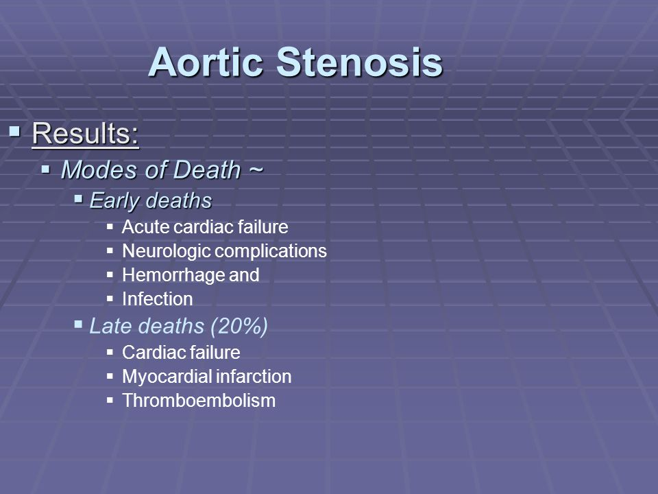 Aortic Stenosis  Results:  Modes of Death ~  Early deaths   Acute cardiac failure   Neurologic complications   Hemorrhage and   Infection 
