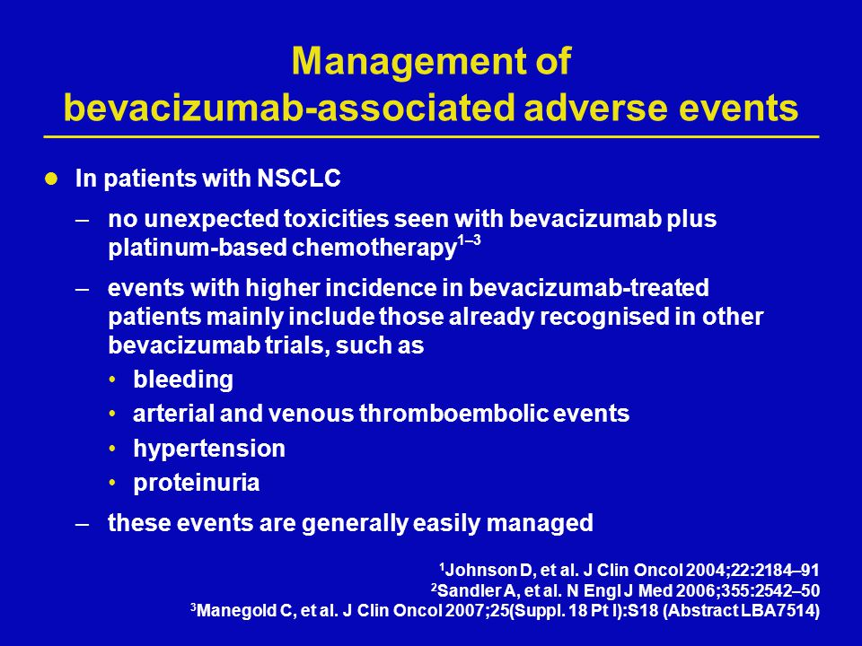 Management of bevacizumab-associated adverse events In patients with NSCLC –no unexpected toxicities seen with bevacizumab plus platinum-based chemoth