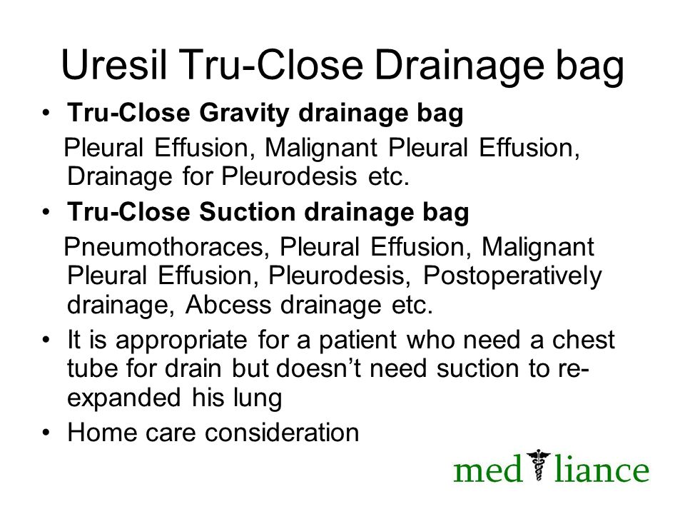 Uresil Tru-Close Drainage bag Tru-Close Gravity drainage bag Pleural Effusion, Malignant Pleural Effusion, Drainage for Pleurodesis etc.