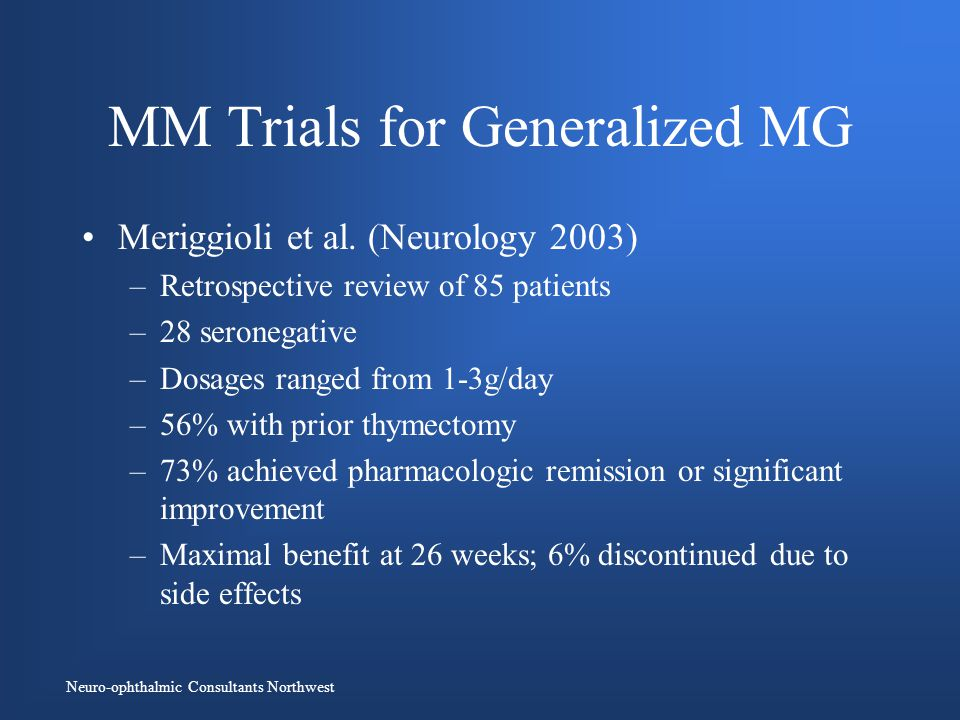 Neuro-ophthalmic Consultants Northwest MM Trials for Generalized MG Meriggioli et al.
