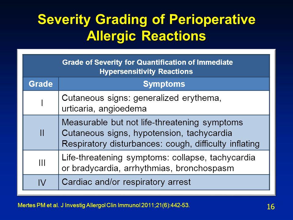 Severity Grading of Perioperative Allergic Reactions Mertes PM et al.