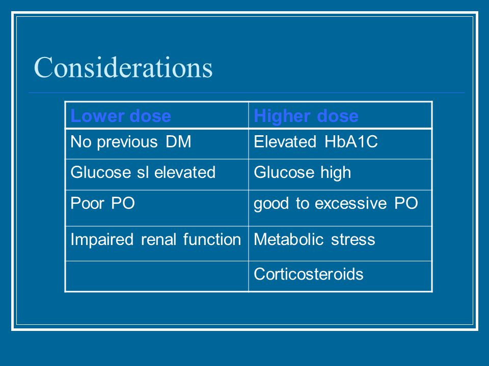 Considerations Lower doseHigher dose No previous DMElevated HbA1C Glucose sl elevatedGlucose high Poor POgood to excessive PO Impaired renal functionMetabolic stress Corticosteroids