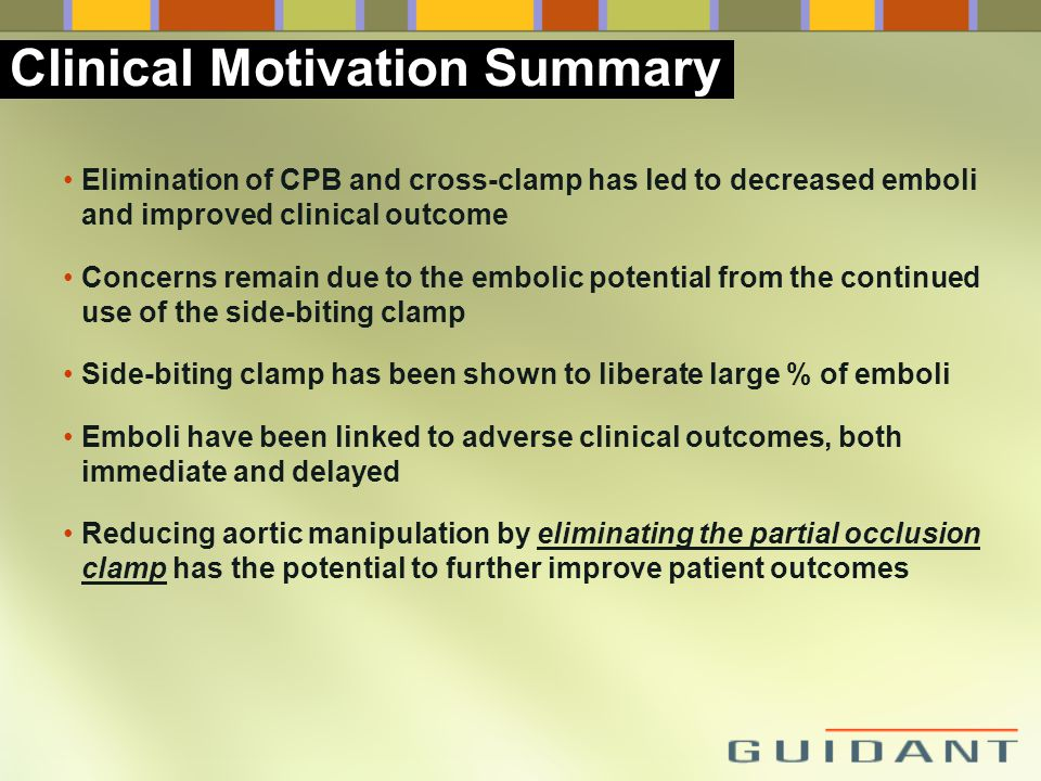 Elimination of CPB and cross-clamp has led to decreased emboli and improved clinical outcome Concerns remain due to the embolic potential from the con