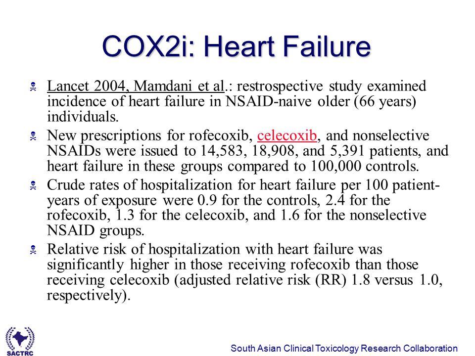 South Asian Clinical Toxicology Research Collaboration 29 January 11, 2008 COX2i: Heart Failure  Lancet 2004, Mamdani et al.: restrospective study ex