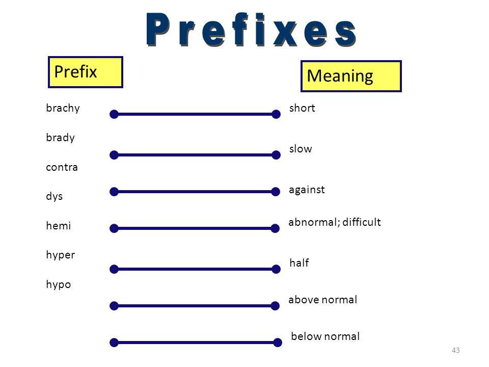 42 Prefixes (a–aut) PrefixMeaning a ab ambi ana ante anti aut(0) without away from both, around up, toward before against self