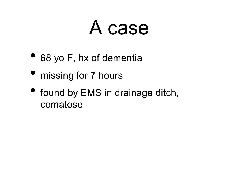 A case RR 6, pulse not palp, BP, T, Osat unmeasurable Glu 5.2 ECG - junctional bradycardia 30-40 bpm decor posturing, GCS 5, no signs trauma, pupils dilated/NR, foley temp 22.7C