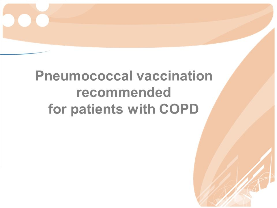 Pneumococcal vaccination recommended for patients with COPD