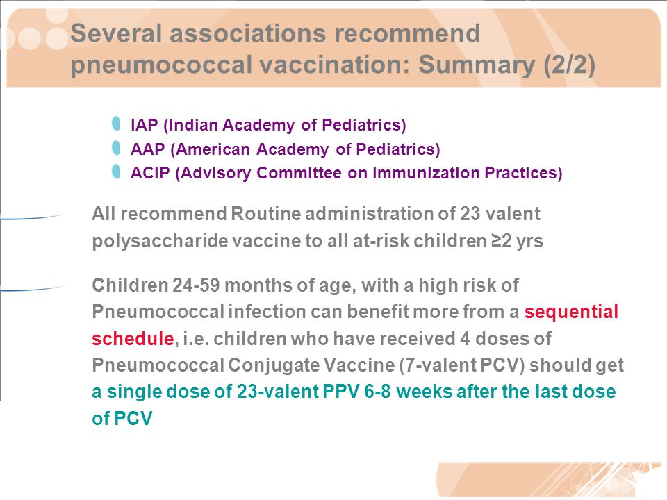 Several associations recommend pneumococcal vaccination: Summary (2/2) IAP (Indian Academy of Pediatrics) AAP (American Academy of Pediatrics) ACIP (Advisory Committee on Immunization Practices) All recommend Routine administration of 23 valent polysaccharide vaccine to all at-risk children ≥2 yrs Children 24-59 months of age, with a high risk of Pneumococcal infection can benefit more from a sequential schedule, i.e.