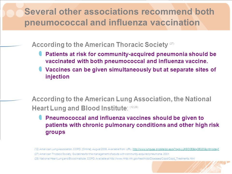 Several other associations recommend both pneumococcal and influenza vaccination According to the American Thoracic Society (27) Patients at risk for community-acquired pneumonia should be vaccinated with both pneumococcal and influenza vaccine.