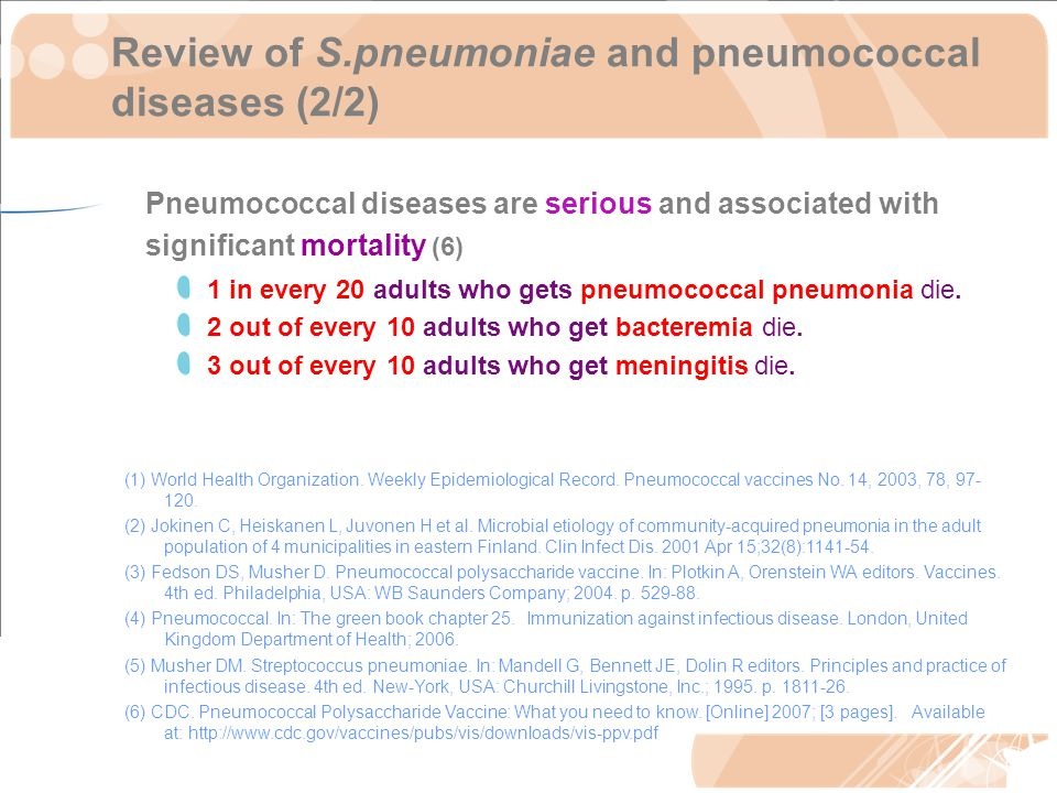 Review of S.pneumoniae and pneumococcal diseases (2/2) Pneumococcal diseases are serious and associated with significant mortality (6) 1 in every 20 adults who gets pneumococcal pneumonia die.