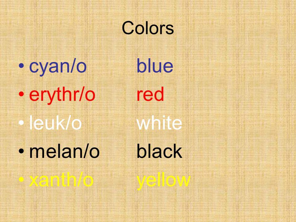 Colors cyan/oblue erythr/ored leuk/owhite melan/oblack xanth/oyellow