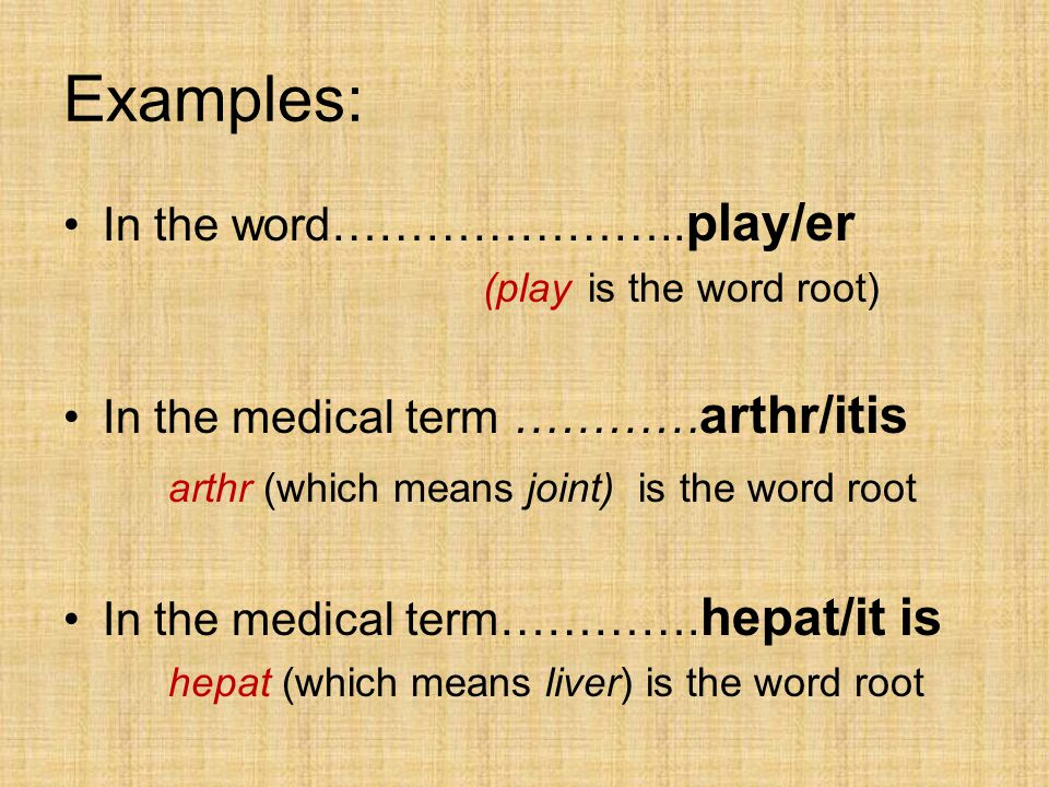 Examples: In the word………………….. play/er (play is the word root) In the medical term ………… arthr/itis arthr (which means joint) is the word root In the m