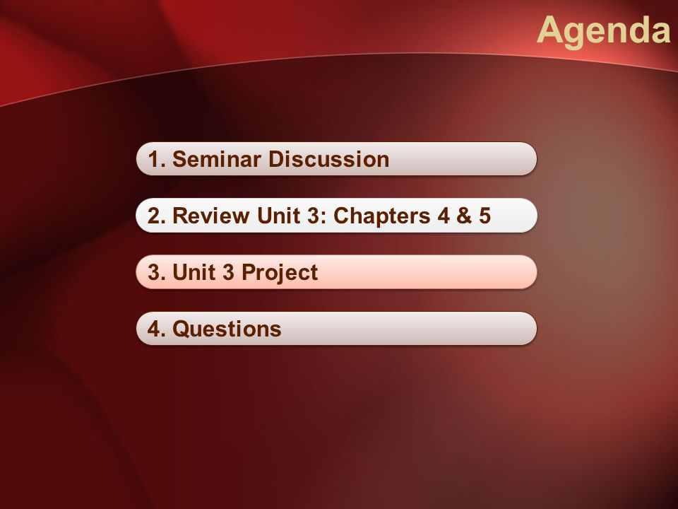 Agenda 1. Seminar Discussion 2. Review Unit 3: Chapters 4 & 5 3. Unit 3 Project 4. Questions