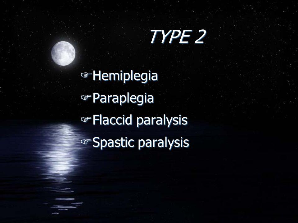 TYPE 2 FHemiplegia FParaplegia FFlaccid paralysis FSpastic paralysis FHemiplegia FParaplegia FFlaccid paralysis FSpastic paralysis