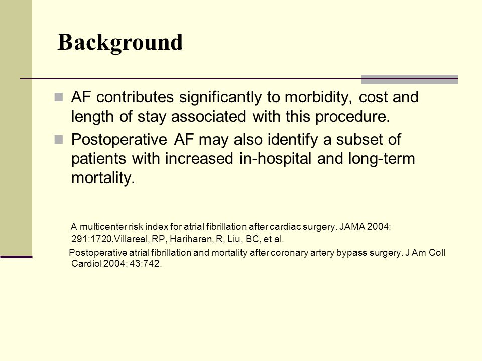 The ACC/AHA guidelines ACC/AHA strongly recommends prophylactic therapy for the prevention of post CABG AF especially for high risk patients.