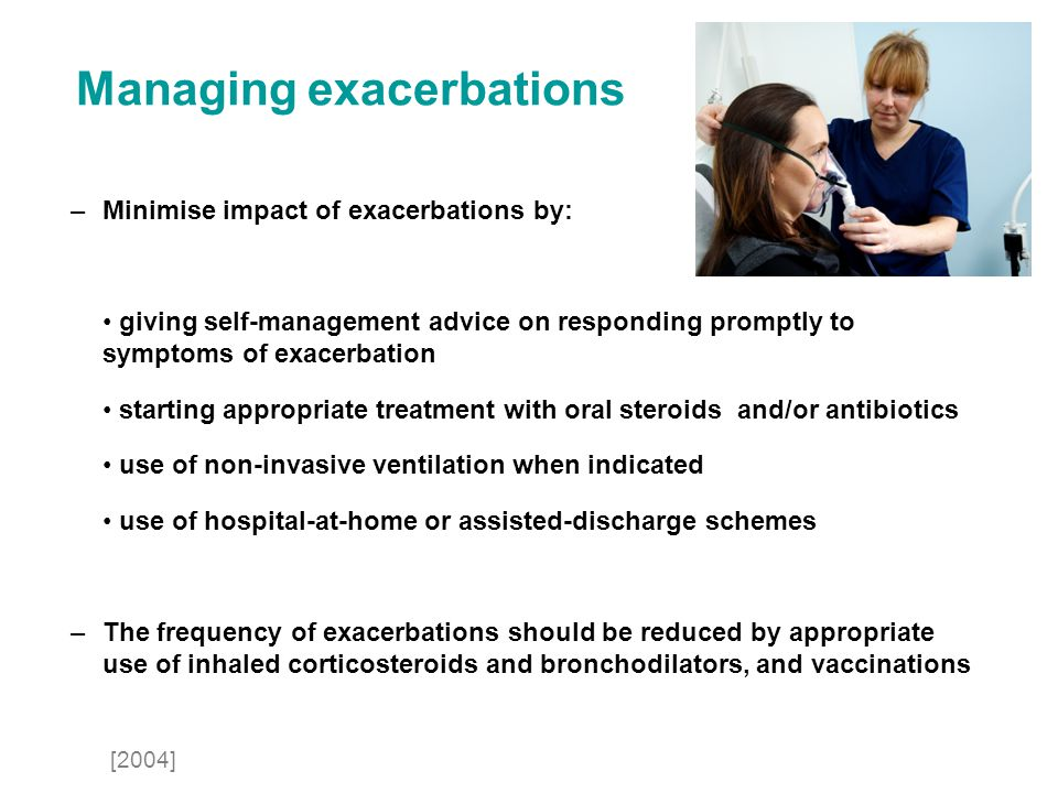 Managing exacerbations –Minimise impact of exacerbations by: giving self-management advice on responding promptly to symptoms of exacerbation starting