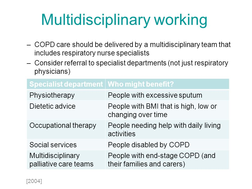 Multidisciplinary working –COPD care should be delivered by a multidisciplinary team that includes respiratory nurse specialists –Consider referral to