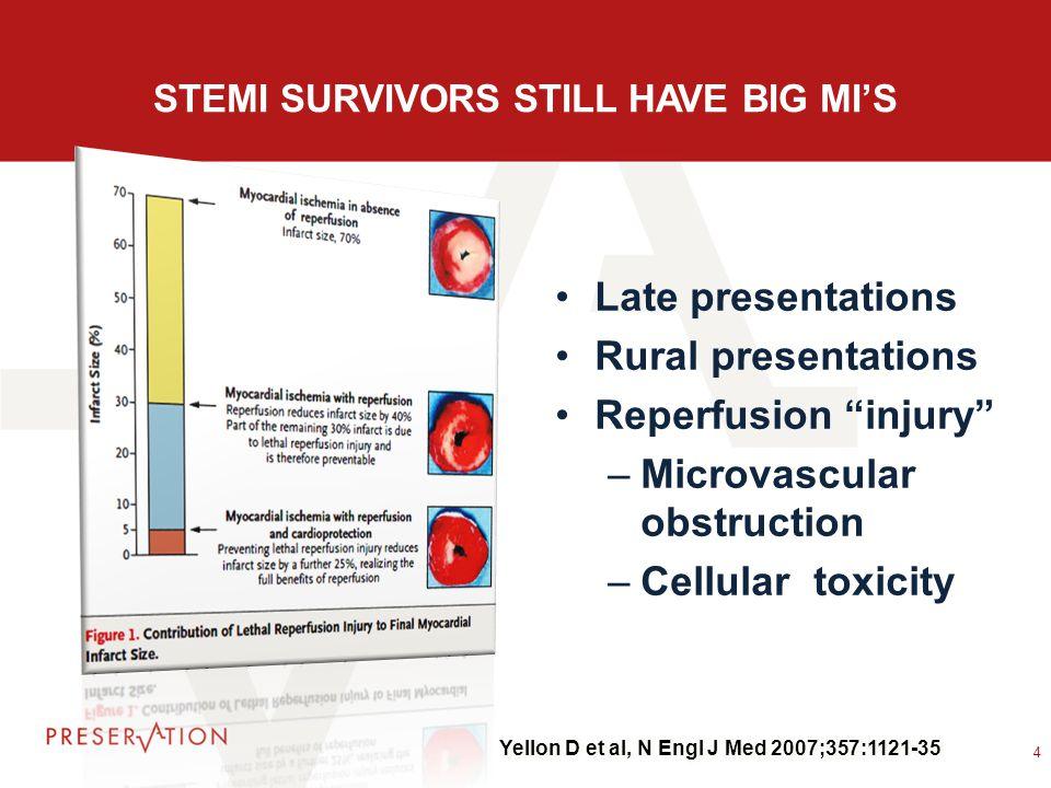 "STEMI SURVIVORS STILL HAVE BIG MI'S Late presentations Rural presentations Reperfusion ""injury"" –Microvascular obstruction –Cellular toxicity 4 Yellon"