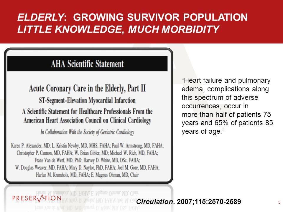 ELDERLY: GROWING SURVIVOR POPULATION LITTLE KNOWLEDGE, MUCH MORBIDITY 5 Circulation.
