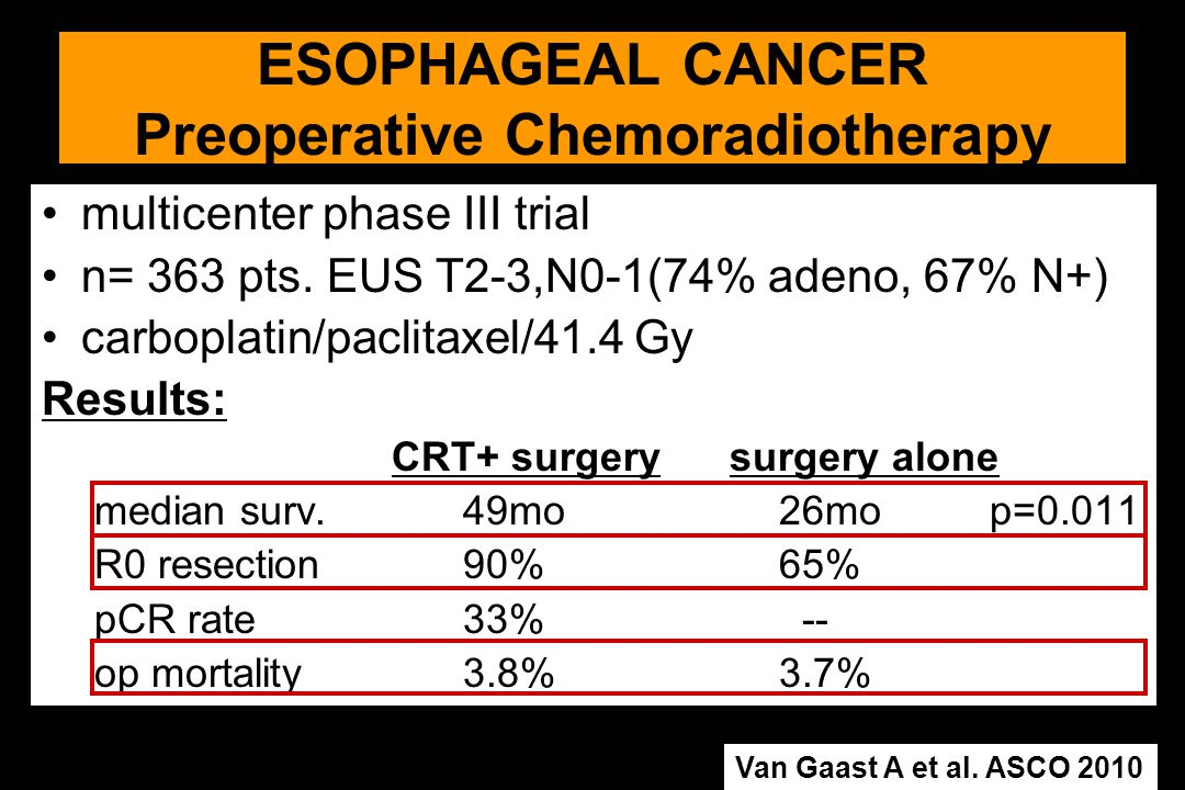 multicenter phase III trial n= 363 pts. EUS T2-3,N0-1(74% adeno, 67% N+) carboplatin/paclitaxel/41.4 Gy Results: CRT+ surgery surgery alone median sur