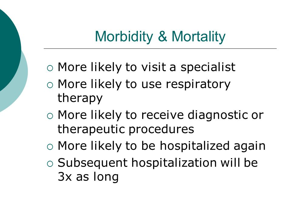 Morbidity & Mortality  More likely to visit a specialist  More likely to use respiratory therapy  More likely to receive diagnostic or therapeutic procedures  More likely to be hospitalized again  Subsequent hospitalization will be 3x as long