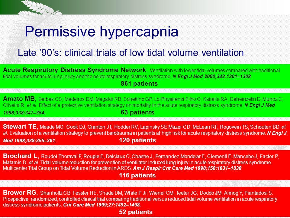 Permissive hypercapnia Late '90's: clinical trials of low tidal volume ventilation Amato MB, Barbas CS, Medeiros DM, Magaldi RB, Schettino GP, Lo-Physirenzi-Filho G, Kairalla RA, Deheinzelin D, Munoz C, Oliveira R, et al.