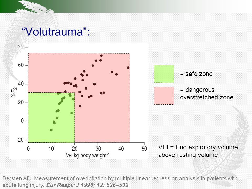 VEI = End expiratory volume above resting volume = safe zone = dangerous overstretched zone Bersten AD.