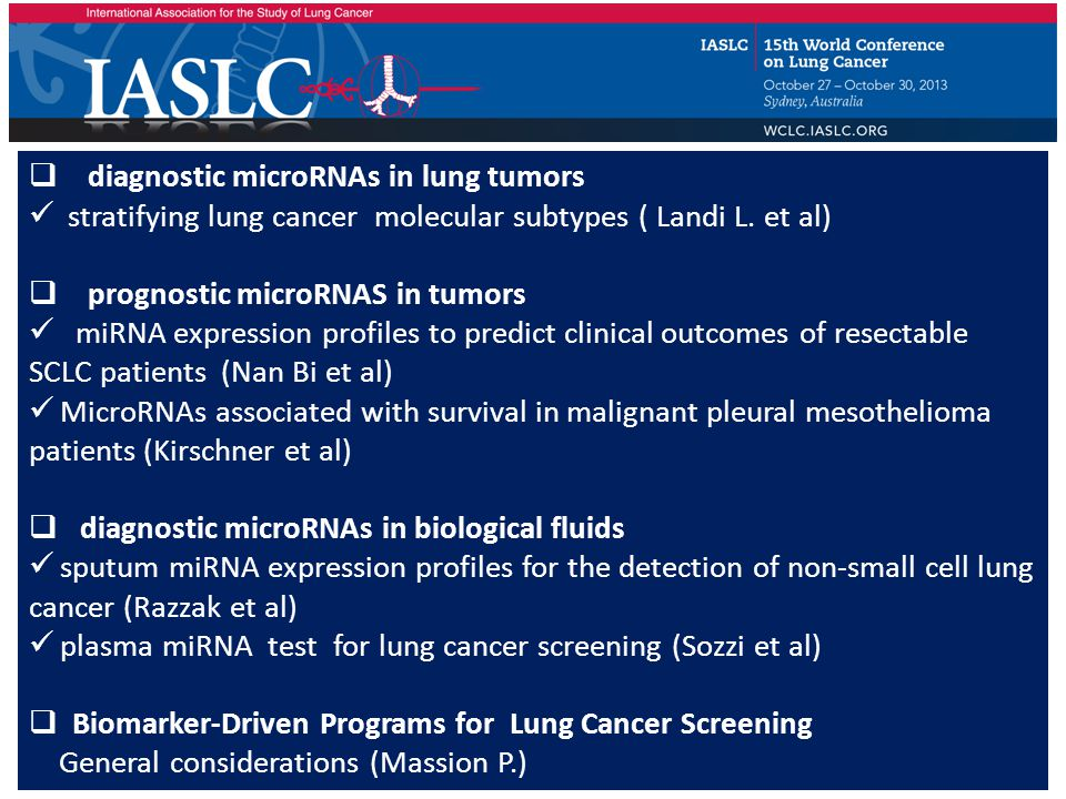  diagnostic microRNAs in lung tumors stratifying lung cancer molecular subtypes ( Landi L.