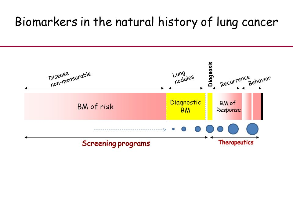 Diagnostic BM BM of risk Disease non-measurable Lung nodules BM of Response Biomarkers in the natural history of lung cancer Recurrence Behavior Diagnosis