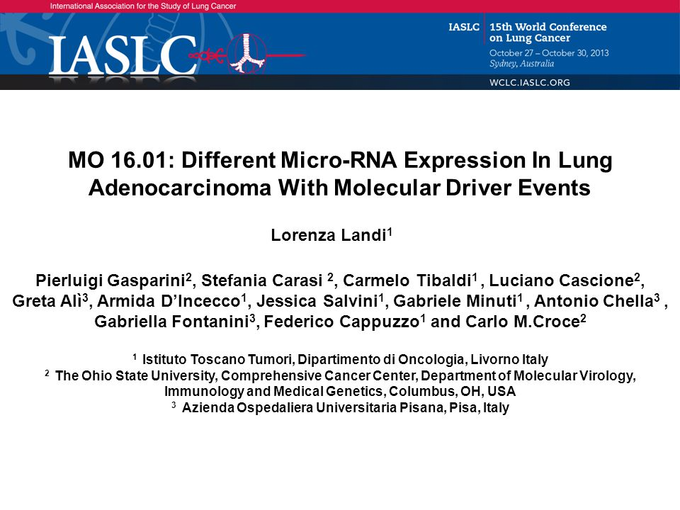 MO 16.01: Different Micro-RNA Expression In Lung Adenocarcinoma With Molecular Driver Events - Landi L Trial Background: Oncogenic driving mutations identify lung adenocarcinoma with different prognosis and sensitivity to targeted therapy Recent studies have suggested that miRNAs could be useful for stratifying lung cancer subtypes, however miRNAs deregulation in NSCLC with ALK translocation, EGFR or KRAS mutations is largely unknown Aim: Identify miRNA signature differences according to the presence of specific oncogenic driver Methods: Retrospective analysis of a cohort of 67 NSCLCs matched with 17 normal lung tissues RNA was isolated from FFPE using the Recover ALL kit (Ambion) and miRNA levels were analyzed using the NanoString miRNA V2 panel Data were processed according to manufacture guidelines.