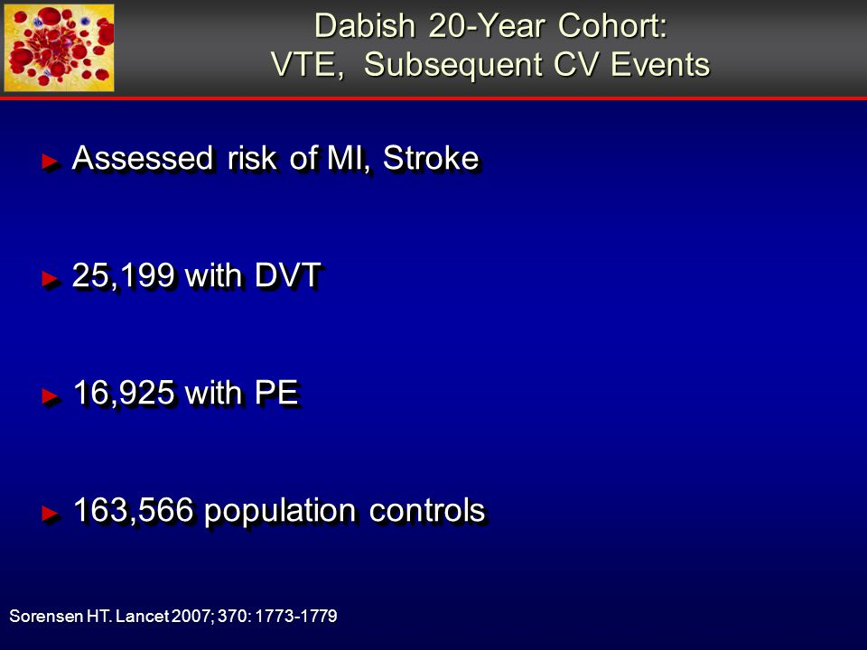 Dabish 20-Year Cohort: VTE, Subsequent CV Events ► Assessed risk of MI, Stroke ► 25,199 with DVT ► 16,925 with PE ► 163,566 population controls ► Assessed risk of MI, Stroke ► 25,199 with DVT ► 16,925 with PE ► 163,566 population controls Sorensen HT.