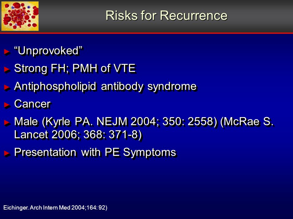 Risks for Recurrence ► Unprovoked ► Strong FH; PMH of VTE ► Antiphospholipid antibody syndrome ► Cancer ► Male (Kyrle PA.