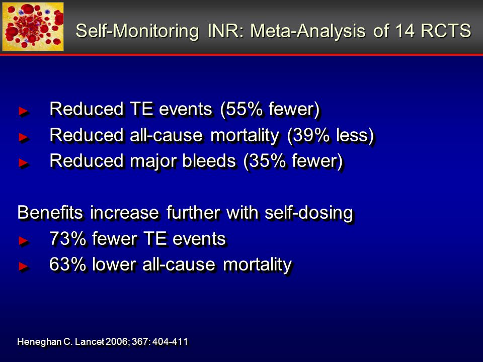 Self-Monitoring INR: Meta-Analysis of 14 RCTS ► Reduced TE events (55% fewer) ► Reduced all-cause mortality (39% less) ► Reduced major bleeds (35% fewer) Benefits increase further with self-dosing ► 73% fewer TE events ► 63% lower all-cause mortality Heneghan C.